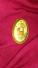 Vintage Embroidered hand embroidered Cameo Brooch Fawn Bambi