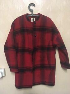 Lee Shirts Wool Zip Overshirt Warp Red Buttoned