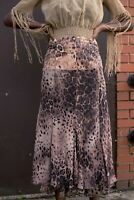 Vintage ladies maxi skirt animal pattern brown recommended size 8-10 003