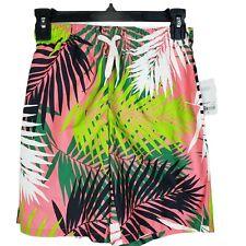 New listing City Streets Coral Palm Frond Print Swim Trunks Size S 8 Husky