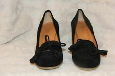 """MASSIMO BALDI 2 1/2"""" Chunky Heel Black Suede Women's Shoes ~ Sz 38 Made in Italy"""