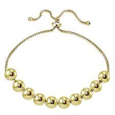 Gold Tone over Sterling Silver 8mm Bead Adjustable Bracelet