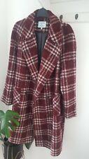 ladies Dickins & Jones Double Breasted check Wool Coat burgandy red Size 18 look