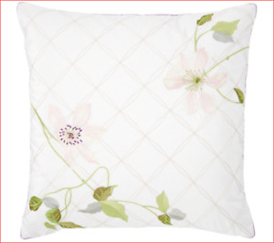 """Yves Delorme Clematis Floral Embroidery Accent Throw Pillow Cover 18"""" Square NEW"""