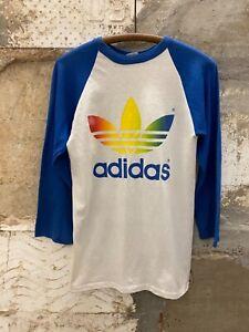 Vintage Adidas Trefoil Shirt Rainbow Baseball Raglan 1970s 1980s Medium USA.