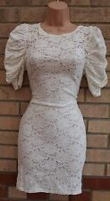 ASOS WHITE FLORAL LACE PUFFBALL SHOULDER TUBE BODYCON PENCIL SEXY DRESS 8 S