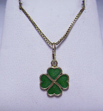 14 kt Yellow Gold Clover Leaf  Pendant & Chain                          dn