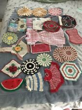 23 Vintage Pot Holder Crocheted And Material Made