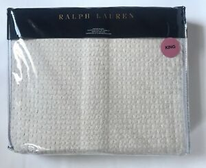 """RALPH LAUREN KING Annandale Griffith Cotton Knit Bed Blanket """"Natural"""" Cream NEW"""