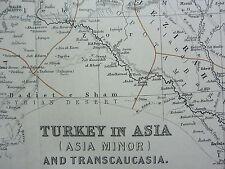 1910 MAP ~ Turchia in Asia Trans Caucasia Cipro