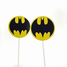 12 x BATMAN Superhero Cupcake Topper Fruit Jelly Cup Toppers Stick