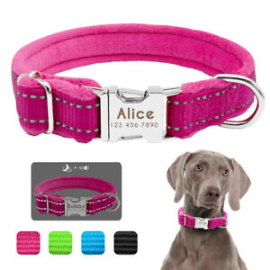 Reflective Nylon Dog Personalised Collars Pet ID Name Tag Engraved Fleece Padded