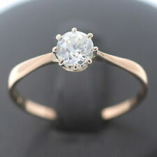 Antik Solitär Diamant Ring 585 Gold 0,65 Ct Rosegold 14 kt Wert 2990,-