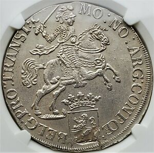 1 Ducaton 1733 Netherlands Gelderland Overyssel Ducaton Rider AU NGC value 1000$