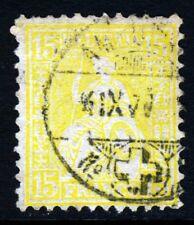 SWITZERLAND 1875 15c. Lemon-Yellow Impressed Wmk Frame Ordinary Paper SG 63 VFU