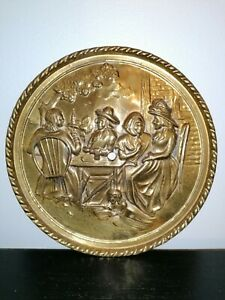 Vintage Round Brass Wall Plaque Hanging Plate Family Scene Gift