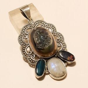 Natural Titanium Druzy Moonstone Amolite Pendant 925 Sterling Silver Jewelry New
