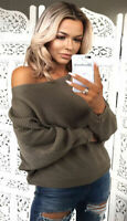 Womens Long Sleeve Batwing Loose Knitted Sweater Ladies Casual Jumper Top UKMAD