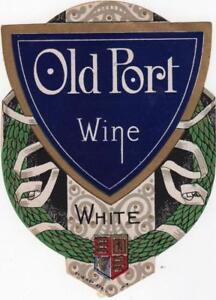 LOVELY VINTAGE DIE CUT DRINKS LABEL OLD PORT WINE