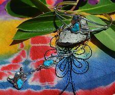 Captivating Navajo Sterling Silver 3 Piece Turquoise Slave Bracelet Ring Size 7