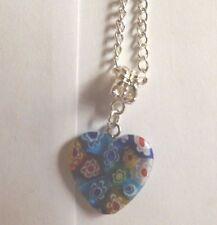 collier argenté 46,5 cm avec pendentif coeur fleurs 21x20mm