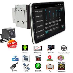 4 Core 10.1in Car Radio Player GPS 32+2GB Wifi Bluetooth FM Mirror Link w/Camera