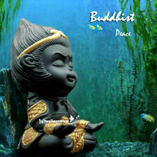 Vintage Ceramic Aquarium Decoration Monkey King Buddha Fish Tank Ornament Decor