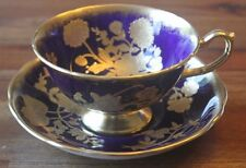 Hammersley & Co Gold Cobalt Jeweled Embossed Roses Flowers Tea Cup Teacup Saucer