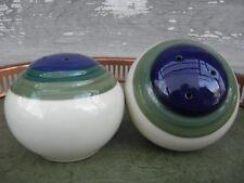 Pfaltzgraff Ocean Breeze Round Salt & Pepper Shaker Set Blue Teal Green Banded