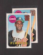 (2) 1998 Topps ROBERTO CLEMENTE 1969 Reprint w/RARE GOLD embossed