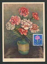 SCHWEIZ MK 1963 FLORA BLUMEN NELKE MAXIMUMKARTE CARTE MAXIMUM CARD MC CM d1965
