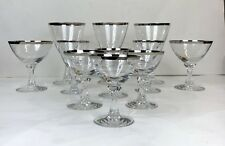 11 Fostoria Silver Rim Stem Glasses Lot Wine Water Wedding Ring