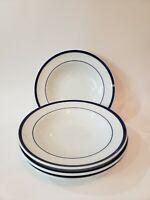 "Set of 4 Williams Sonoma Brasserie Blue 9"" Soup Salad Pasta Bowls, Made In Japan"