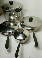 Vintage Revere Ware Copper Bottom 1801 Cookware 8 piece Stock Pot Skillets lids