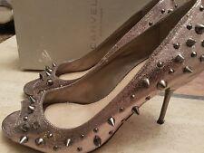 Carvela Gem Gunmetal Zapatos Con Tachas Púas Diseñador De Boda EU 40 UK 7
