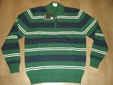 Farah 1/4 Zip Funnel Neck Jumper Dark Green Stripe Cotton M