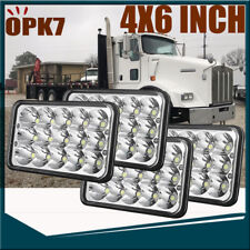 "4P 4x6"" inch 45w High Low Beam LED Headlights For Kenworth Peterbilt 357 379 378"