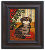 Original Oil Painting On Canvas of A Cute Cat Kitten Indoor Signed Framed