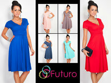 Elegant Womens Dress V Neck Short Sleeve Knee Length Tunic Sizes 8 - 18 8416