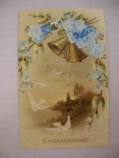 VINTAGE EMBOSSED EASTER POSTCARD CHURCH AT SUNRISE W/DOVES & CLOTH FLOWERS 1910