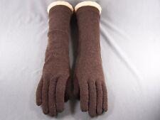 "Dark Brown 15"" long wool stretch gloves winter warm ladies elbow length"
