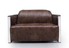 2 Seater Sofa Industrial Aviation Vintage Dark Brown REAL Full Grain Leather