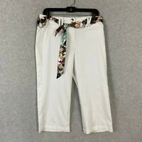 Larry Levine Womens Pants Cropped Stretch White Size 6