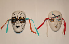 "Lot of 2 Mardi Gras New Orleans Ceramic Face Wall Masks (4"")"
