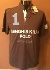 SHANGHAI TANG Genghis Khan Polo Shirt Brown  Embroidered Sz. Medium  NWT