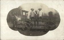 Dassel Mn Father & Daughters on Gray Delivery Wagon c1910 Real Photo Postcard