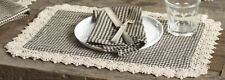 Gingham and Lace Placemats Set of 2 Ava Black Ivory Check Market Street IHF