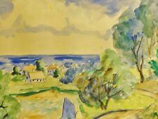 Finn ANDERSEN (1909-1987) - Expressionismus Aquarell: SCHMALER WEG, DORF AM MEER