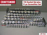CRAFTSMAN 116pc 1/4 3/8 1/2 Dr SAE&METRIC MM socket set plus 11 pc Bonus set