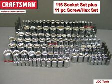 CRAFTSMAN 116pc 1/4 3/8 1/2 Dr SAE METRIC MM 6pt 12pt ratchet wrench socket set